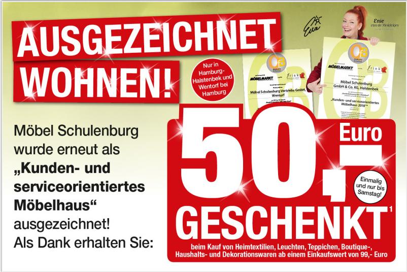 50€ Rabatt ab 99MBW bei Schulenburg in HH Halstenbek und Wentorf ( bis 03.02. )