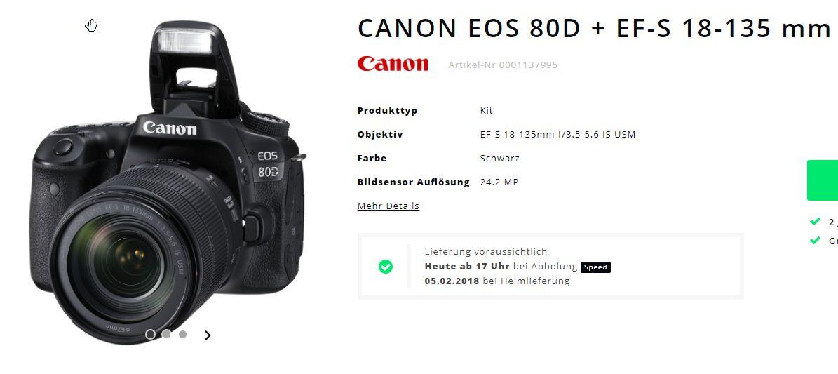 CANON EOS 80D + EF-S 18-135 mm (Schweiz Angebot)