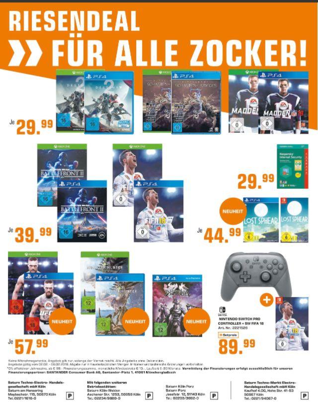 [Regional Saturn - Märkte in Köln] Mittelerde: Schatten des Krieges(PS4 und Xbox One) für je 29.99€ // Nintendo Switch Pro Controller + FIFA 18 (Switch) für 89,99€