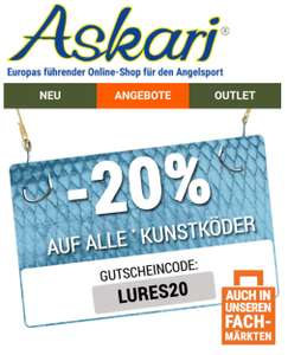 [Angeln] 20% Gutschein auf alle Kunstköder bei Askari