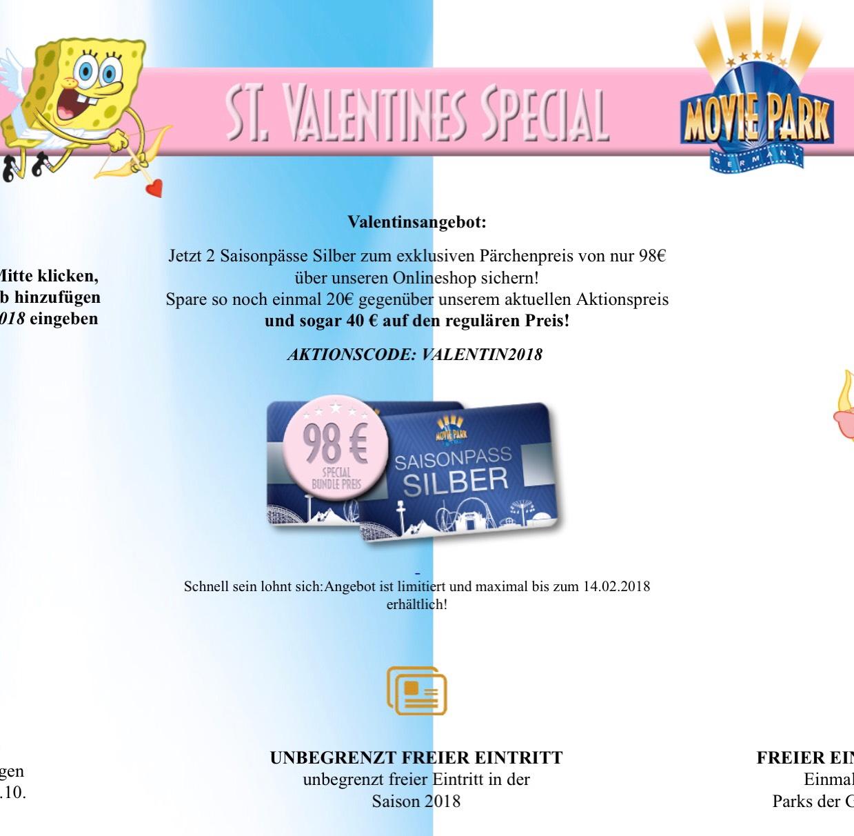 2x Movie Park Saisonpass Silber für 98€ - Valentins-Special