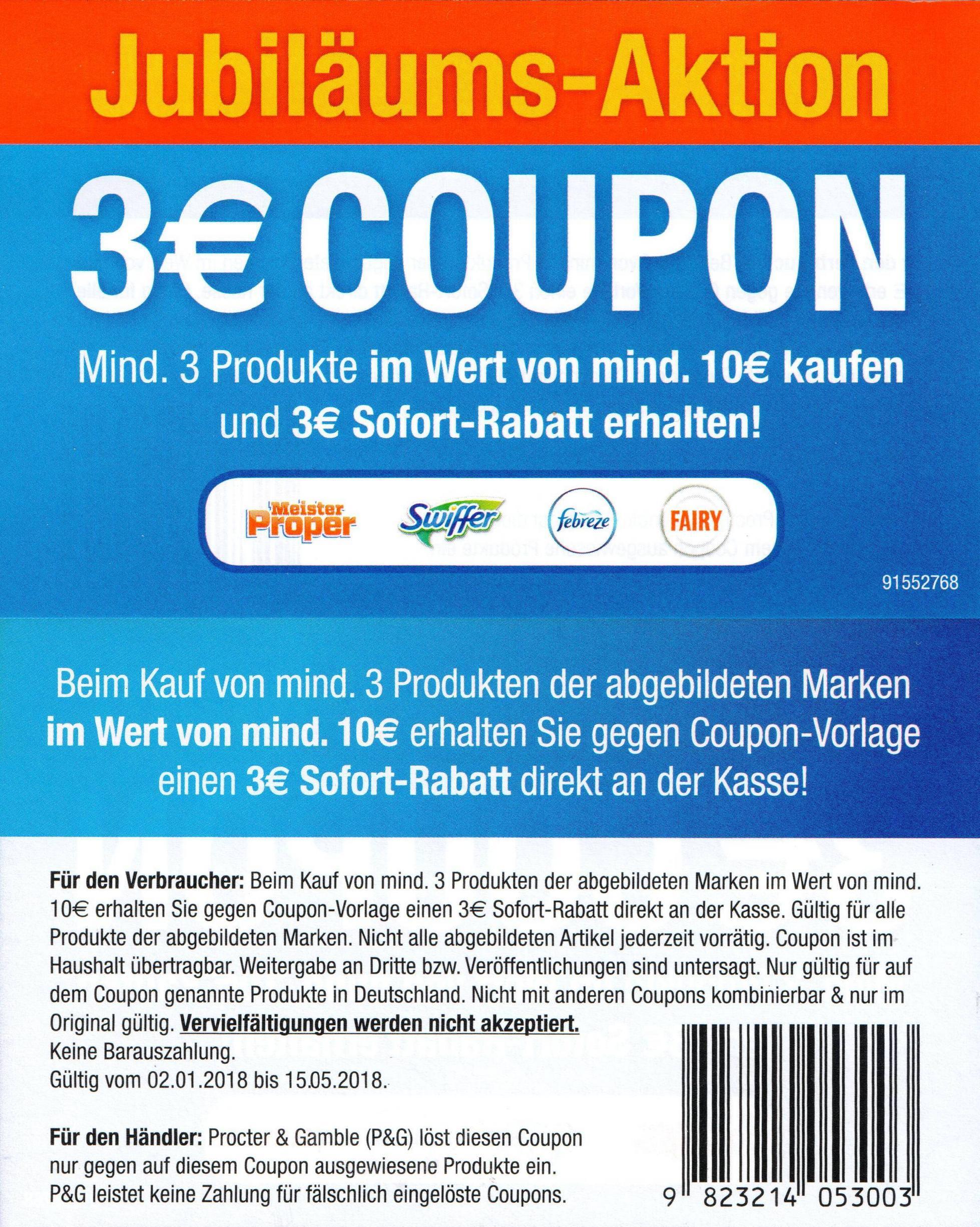Neuer 3,00€ ab 10,00€ Coupon für Fairy / Febréze / Meister Proper & Swiffer bis 15.05.2018 [auch Real, Rewe, Edeka, Marktkauf, Rossmann usw.]