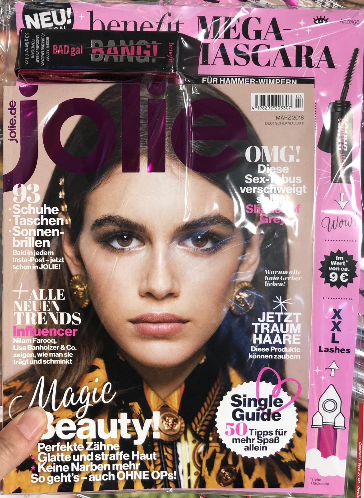 Gratis Probe der neuen Benefit Mascara beim Kauf der Zeitschrift Jolie