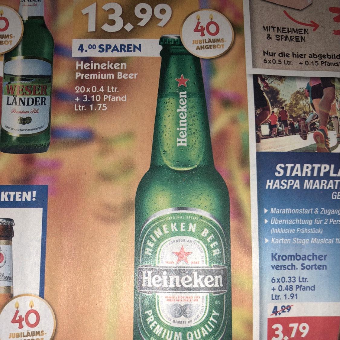 [Hol' Ab] Kiste Heineken 20x0,4 Liter für 13,99€ + 3,10 Pfand
