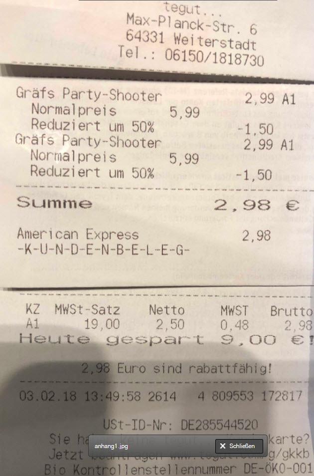 [Preisfehler] Lokal Tegut... Weiterstadt Gräfs Party-Shooter 12 x 20mL x 15-18% vol Alc.