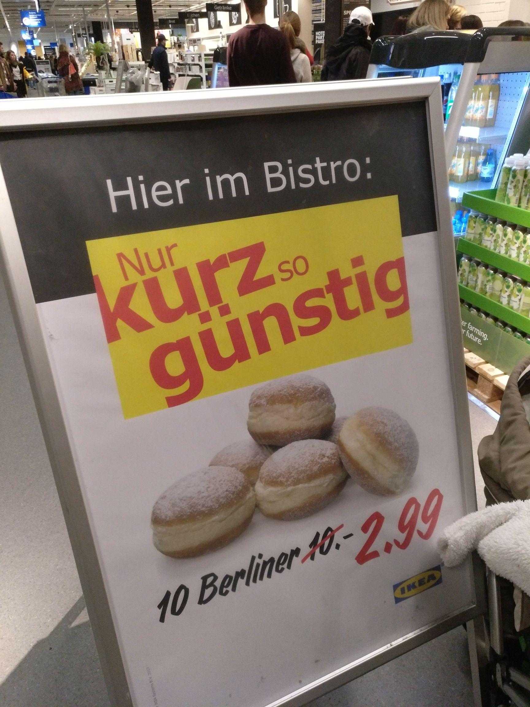 IKEA lokal? 10 Berliner, Krapfen, Pfannkuchen 2,99 statt 10€  - Köln am Butzweilerhof