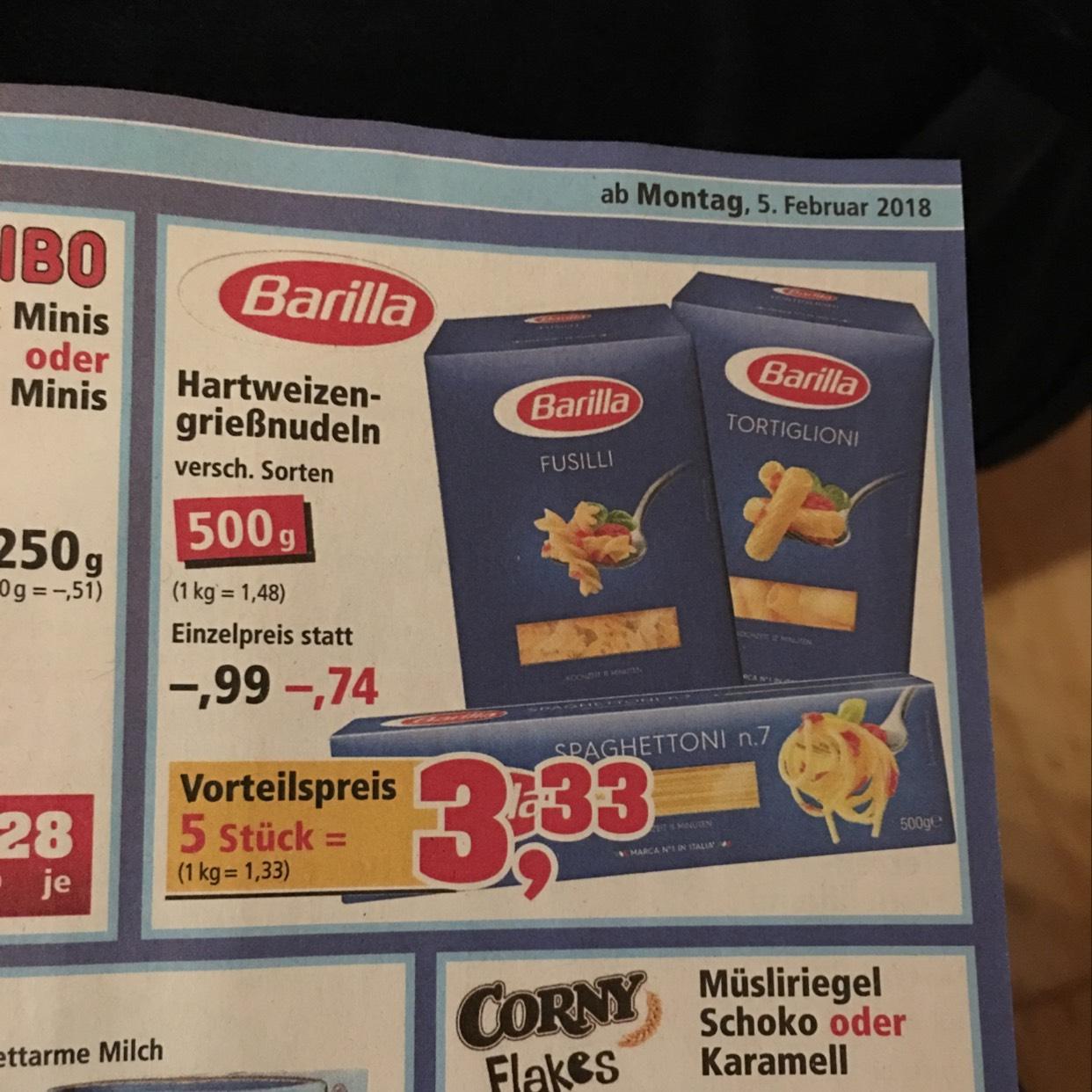 Barilla Nudeln mit Vorteilspreis bei 5 Stück