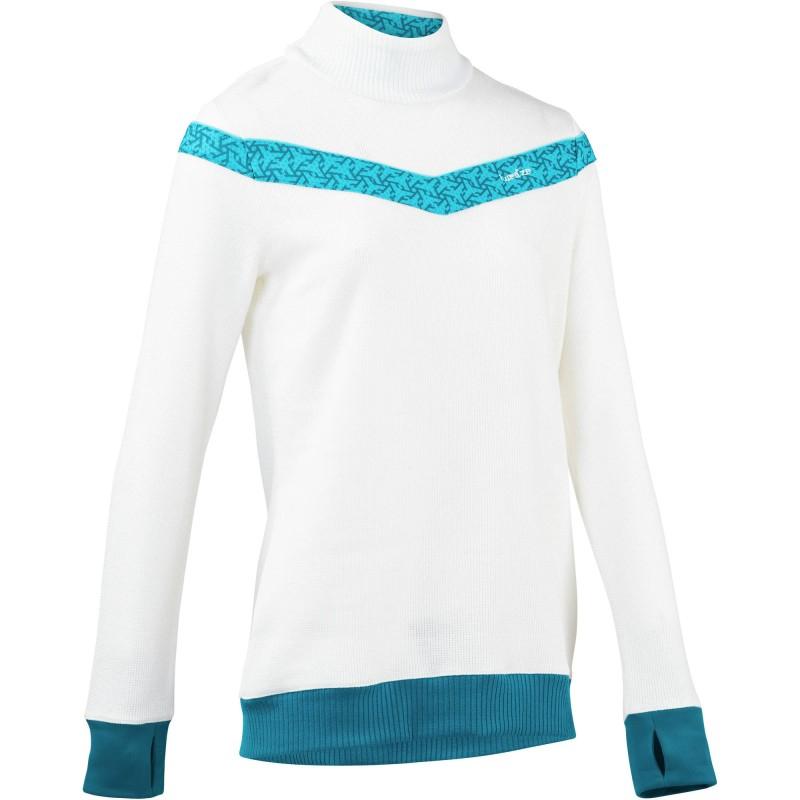 Ski-Pullover Mid Warm 100 Damen weiß/blau WED'ZE Decathlon Bielefeld