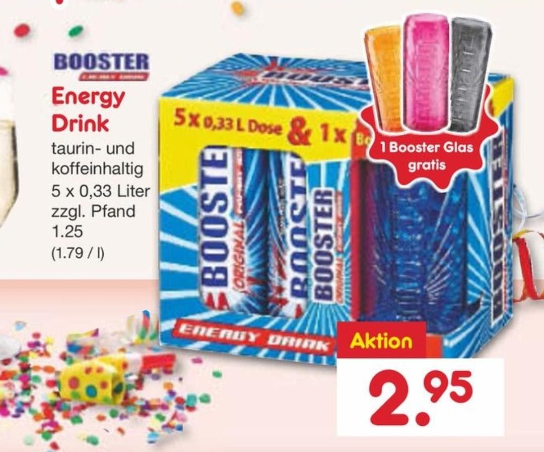 5 Dosen Booster (0,33L) + 1 Booster-Glas für 2,95€ | AB MONTAG IM NETTO-MARKENDISCOUNT