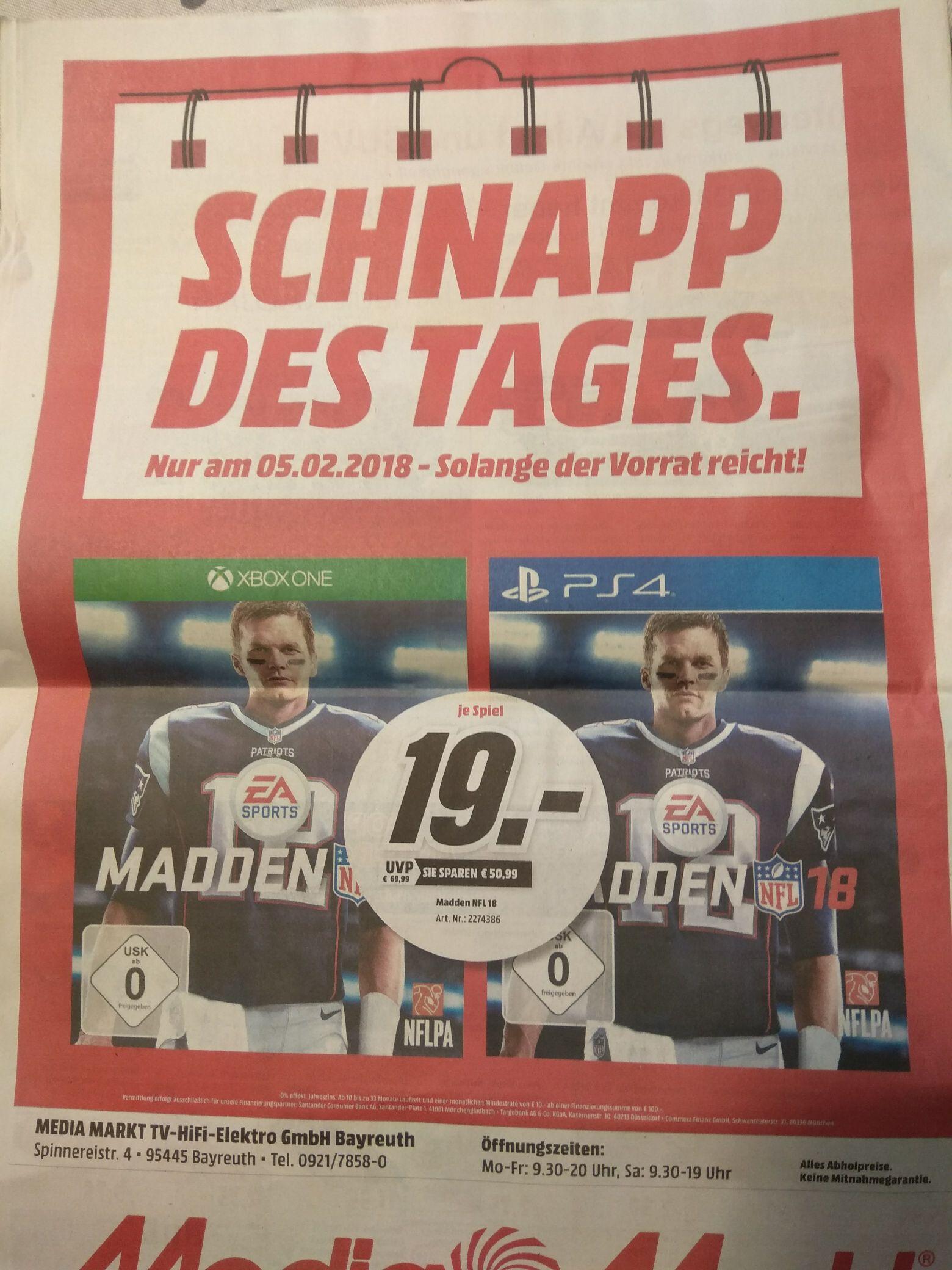 Madden NFL 18 XBOX ONE / PS4 für je 19 Euro [lokal Media Markt Bayreuth]