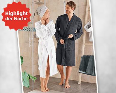 *Ab heute* Bademantel aus 100% Baumwolle für Damen/Herren/Unisex, verschiedene Farben und Größen für 9,99€ bei [Aldi Süd]
