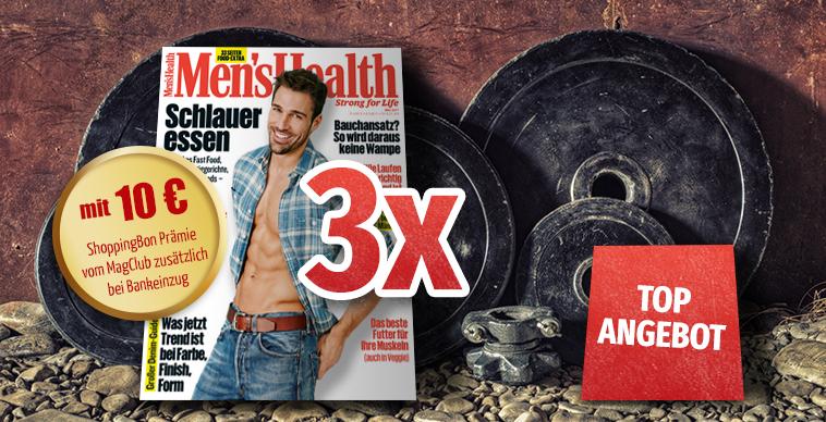 3 Ausgaben Men`s Health + 10€ amazon-Gutschein für 10,90€