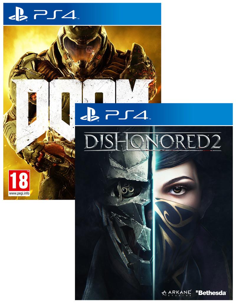 DOOM & DISHONORED 2: Das Vermächtnis der Maske im Doppelpack für 23,49 € bei Spielegrotte (Nur PS4) Playstation 4