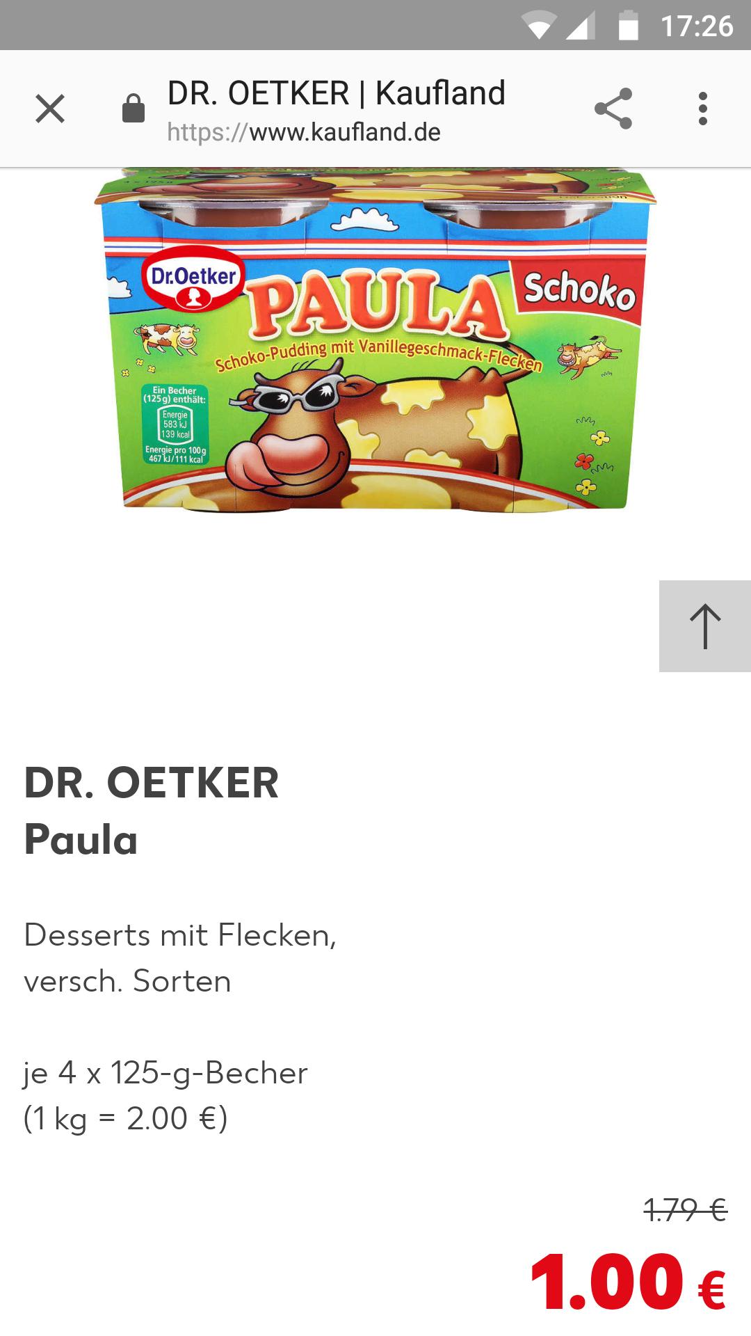 4*125g Dr. Oetker Paula Pudding mit Vanille oder Schokoflecken