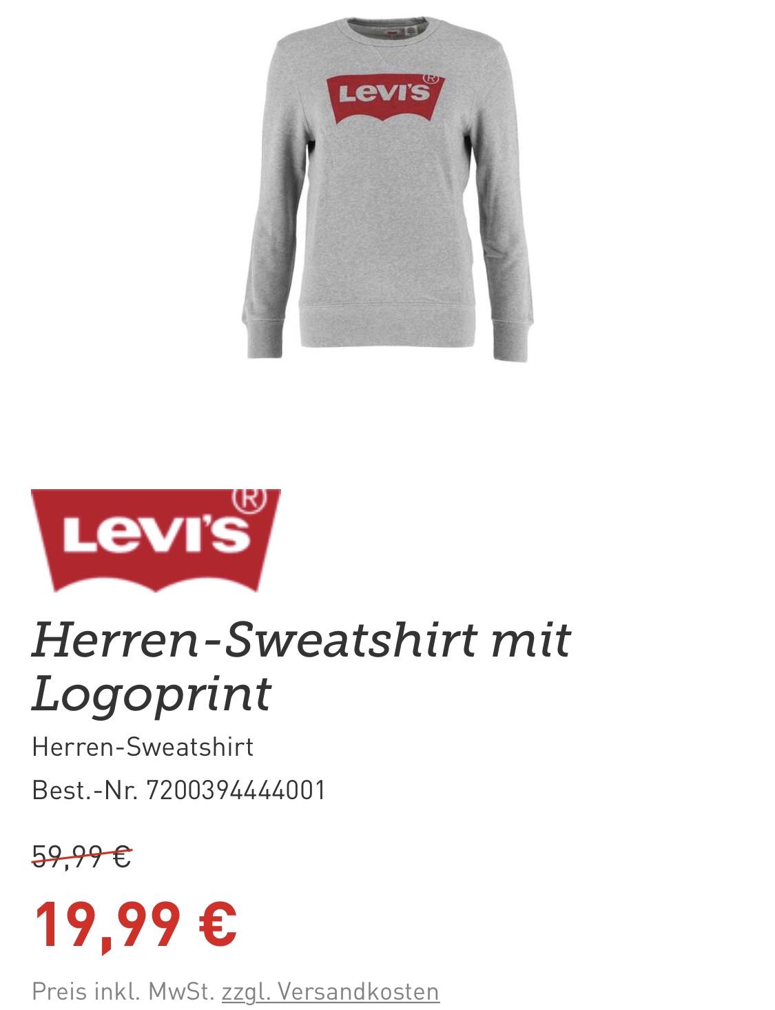 (XXL) LEVIS Sweatshirt für 18€ (inkl. Versand) bei dodenhof