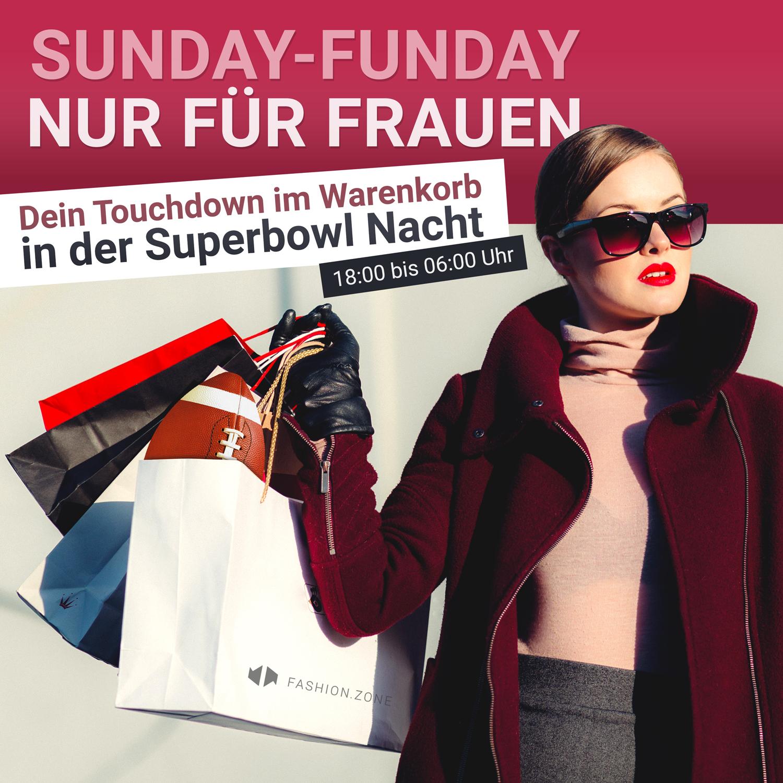Superbowlaktion bei fashion.zone 20% RABATT FÜR ALLE LADIES* von 18 -06 Uhr