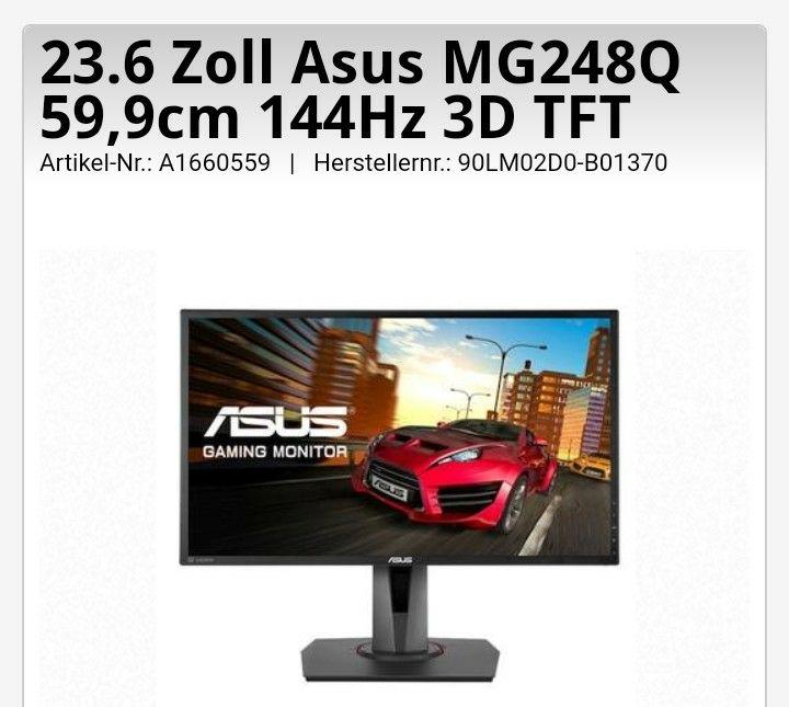 Gaming Monitor - Asus MG248Q 59,9cm 144Hz 3D TFT