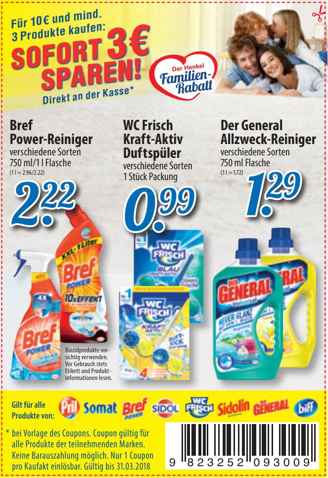Henkel Familien-Rabatt: Neuer 3€ ab 10€ Coupon für Bref / Biff / Der General / Sidol / Sidolin / Somat / WC Frisch Produkte in PDF bis 31.03.2018 [Bundesweit]