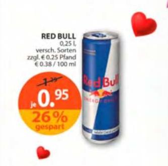 Red Bull 0,25l für 0,70€ bei MÜLLER (Angebot+Coupon zum Ausdrucken)