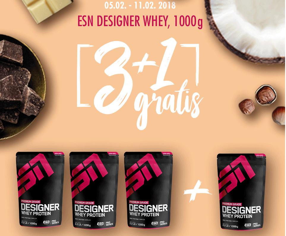 4 x ESN DESIGNER WHEY, 1000g (3 + 1 Gratis)