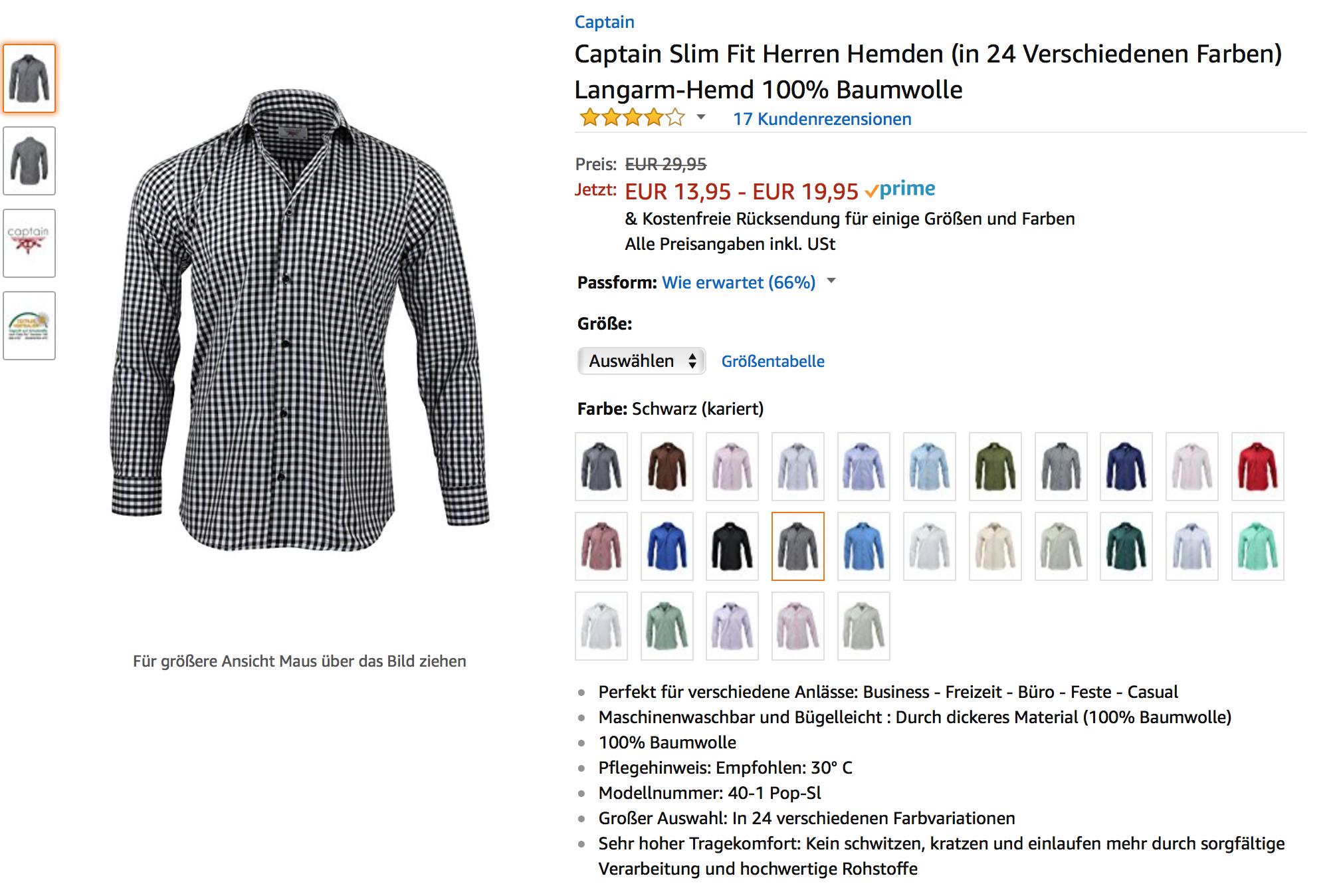 100% Baumwolle Herren Hemden + 10% Preisnachlass auf 2 Artikel