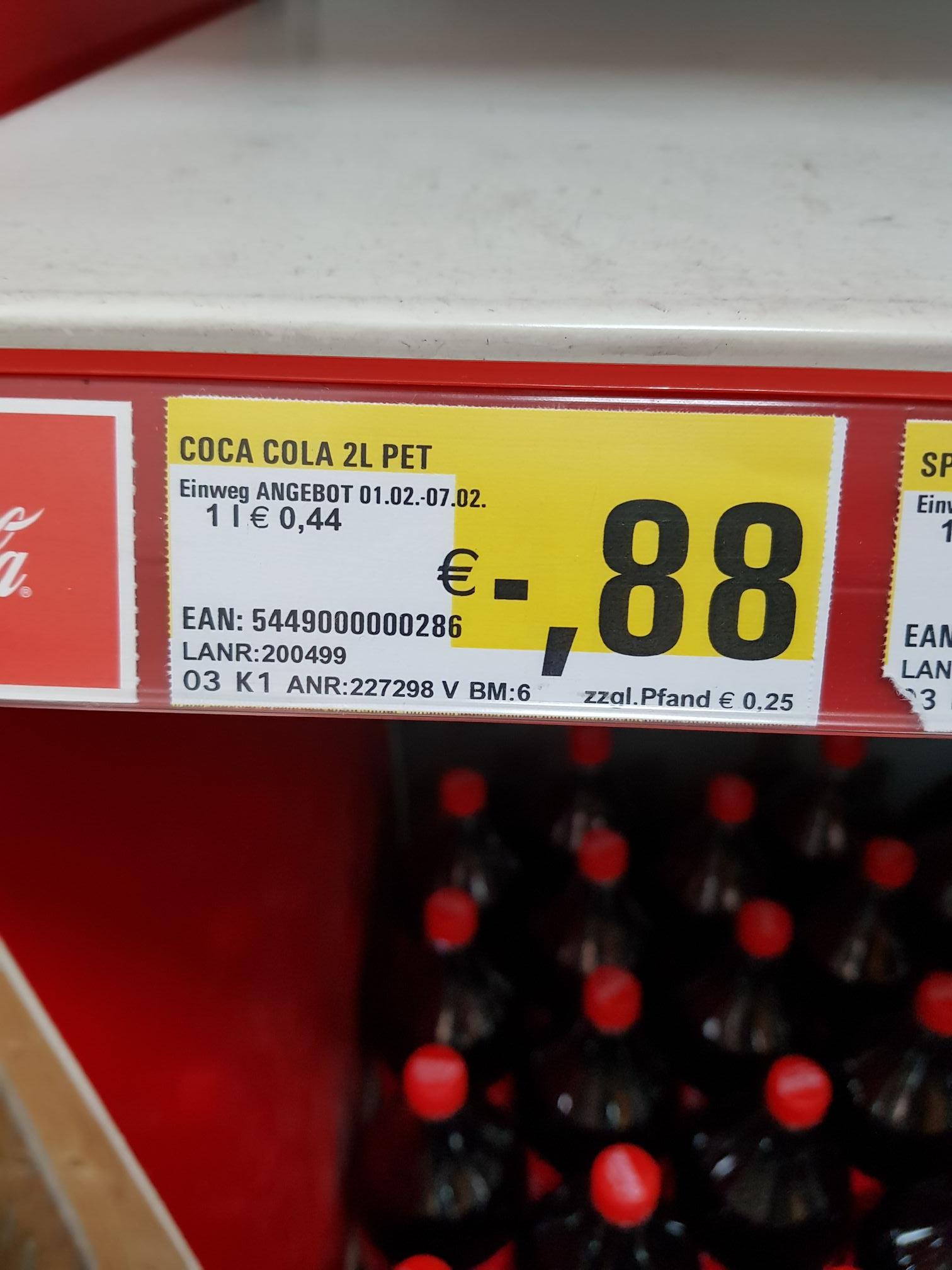 Lokal V-Markt München Coca Cola etc. 2L PET 0,88€