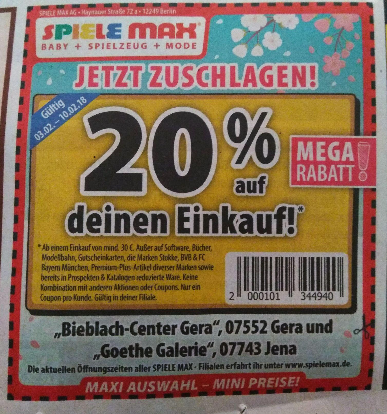 [Lokal Jena / Gera]  20% Rabatt auf den Einkauf bei Spiele Max ab 30€
