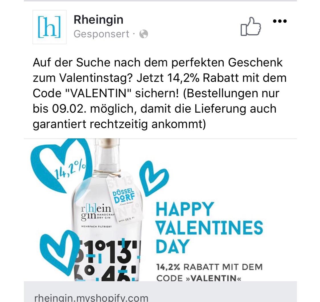 Rheingin 14,2% zum Valentinstag
