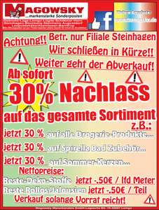 [Lokal] Steinhagen - Magowsky 30% Nachlass auf das gesamte Sortiment