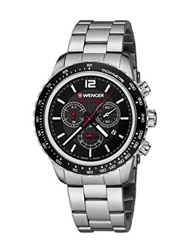[Amazon] WENGER Unisex-Armbanduhr 01.0853.107 ROADSTER BLACK NIGHT CHRONO Analog Quarz Edelstahl