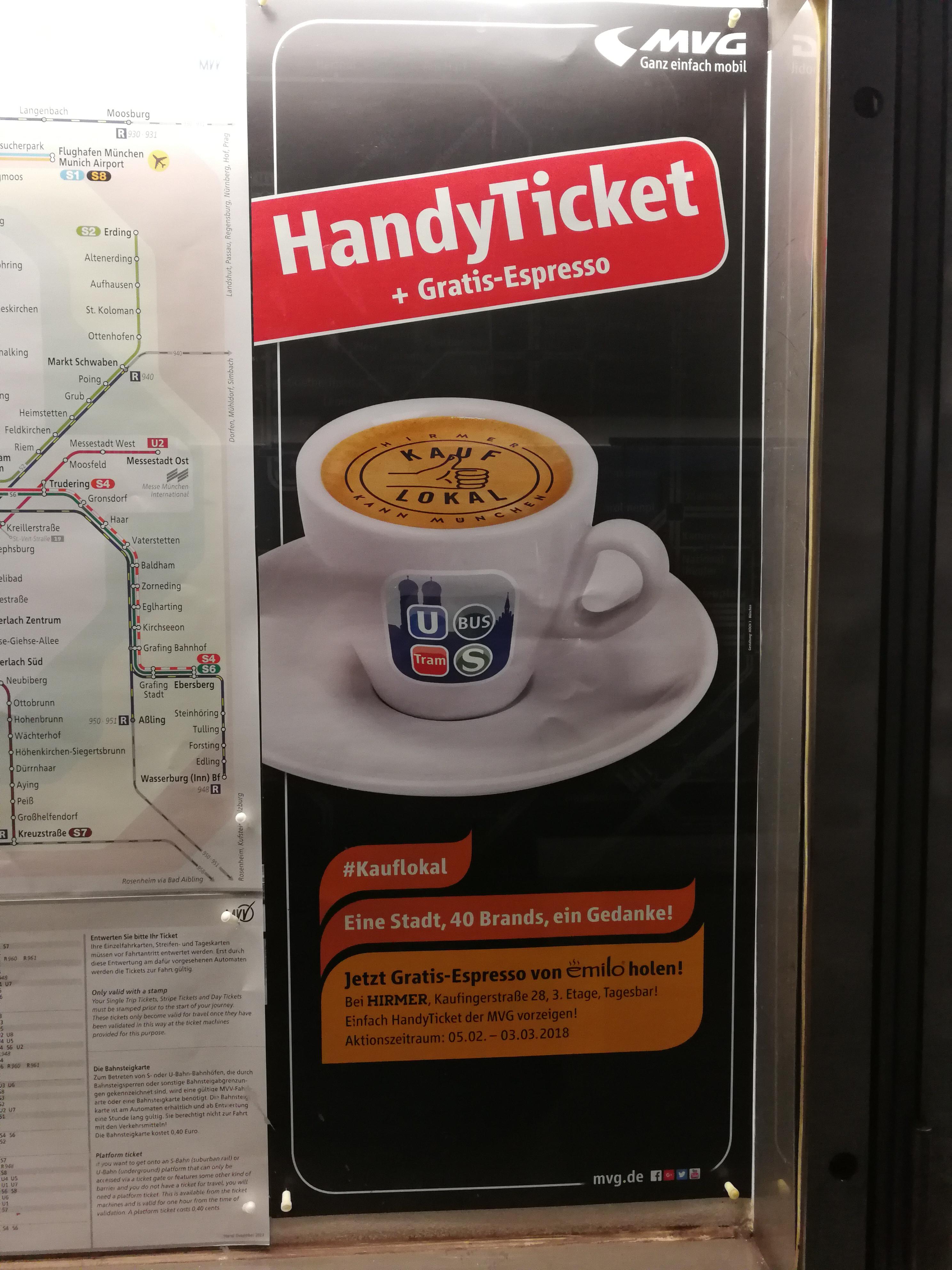 [lokal München] Gratis Espresso bei Vorzeigen eines MVG Handy Tickets