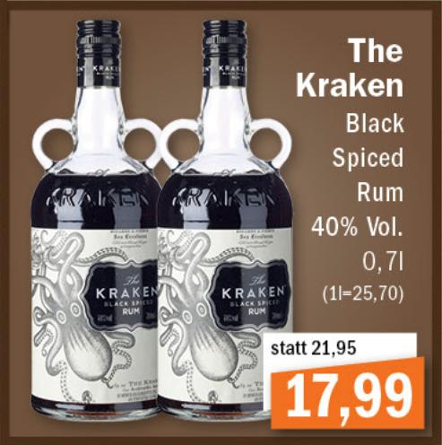 [Lokal Oldenburg - Aktiv/Irma] - The Kraken Black Spiced Rum 0,7l (40% Vol.)