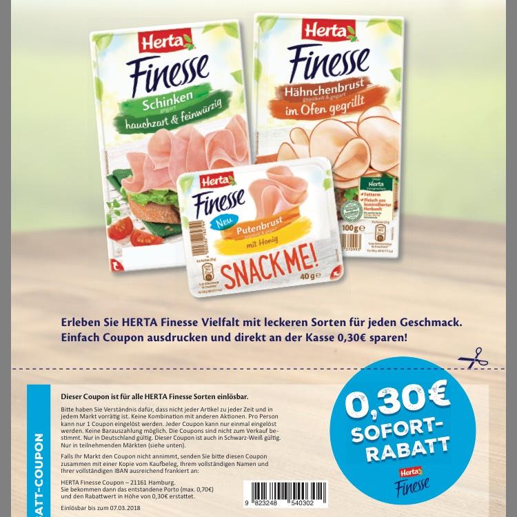 0,30 cent Rabatt für Herta Finesse Snack-Me