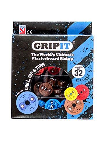 GripIt Sortiment Gipskarton-Befestigungen für Ständerwände – Maximale Belastung 113 kg (32 Befestigungen)