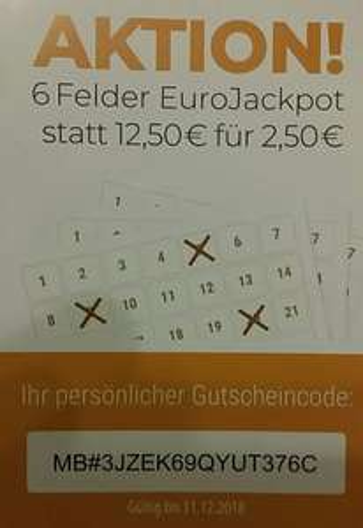 6 Felder EuroJackpot statt 12,50€ für 2,50€