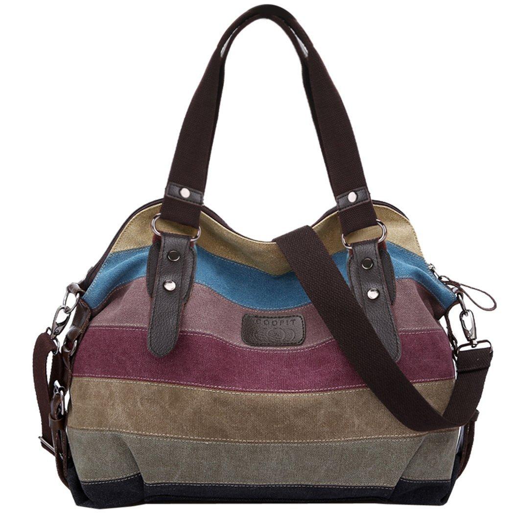 (Amazon Prime) Multi-Color-Striped Canvas Damen Handtasche / Umhängetasche 13,98 Euro