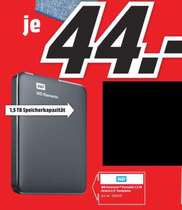 """[Regional Mediamarkt-Alle Filialen Berlin und Umgebung] WD Elements portable HDD USB3.0 1.5 TB 2.5""""""""Zoll USB 3.0, schwarz (Externe Festplatte) für 44,-€"""