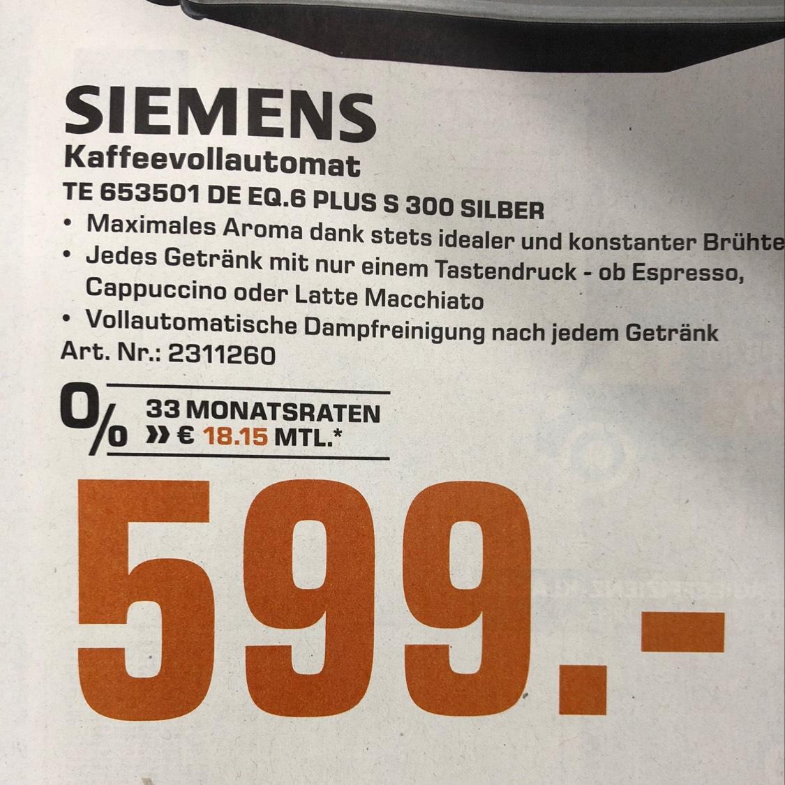 [Saturn HH] Siemens EQ.6 S300 TE653501 Silber Kaffeevollautomat 599,- - Lokal