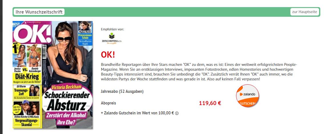 OK! Jahresabo für 119,60€ + 100€ Zalando Gutschein