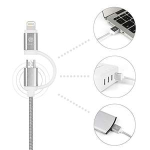 2 in 1 Ladekabel USB Lightning & Micro USB - geeignet für Apple & Android [Amazon]