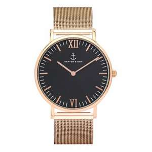 KAPTEN & SON Campus Black Mesh Roségold 40mm