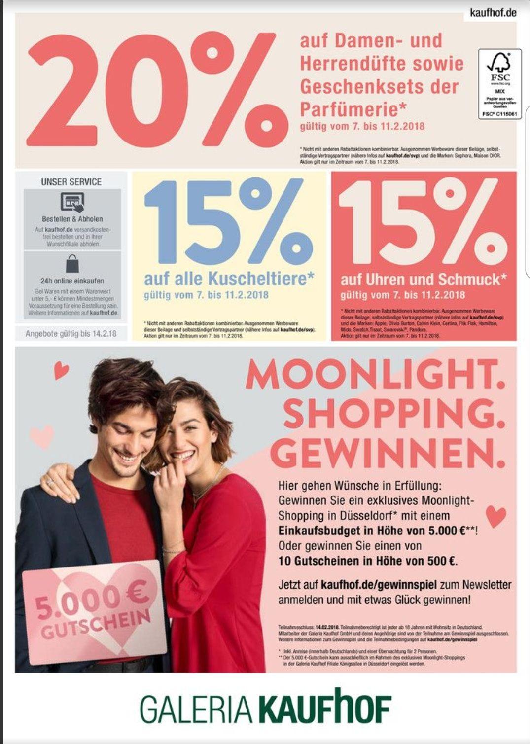 [Galeria-Kaufhof] 20% Rabattauf Parfüm oder Geschenksets 15% auf Schmuck und Uhren oder Kuscheltiere