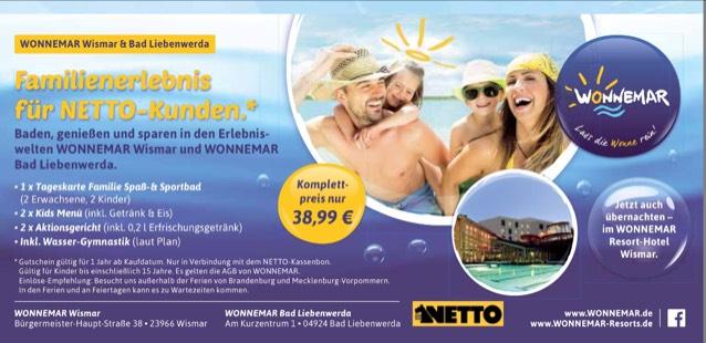 Netto: Familienkarte inkl. Essen im Spaßbad WONNEMAR Bad Liebenwerda u. Wismar
