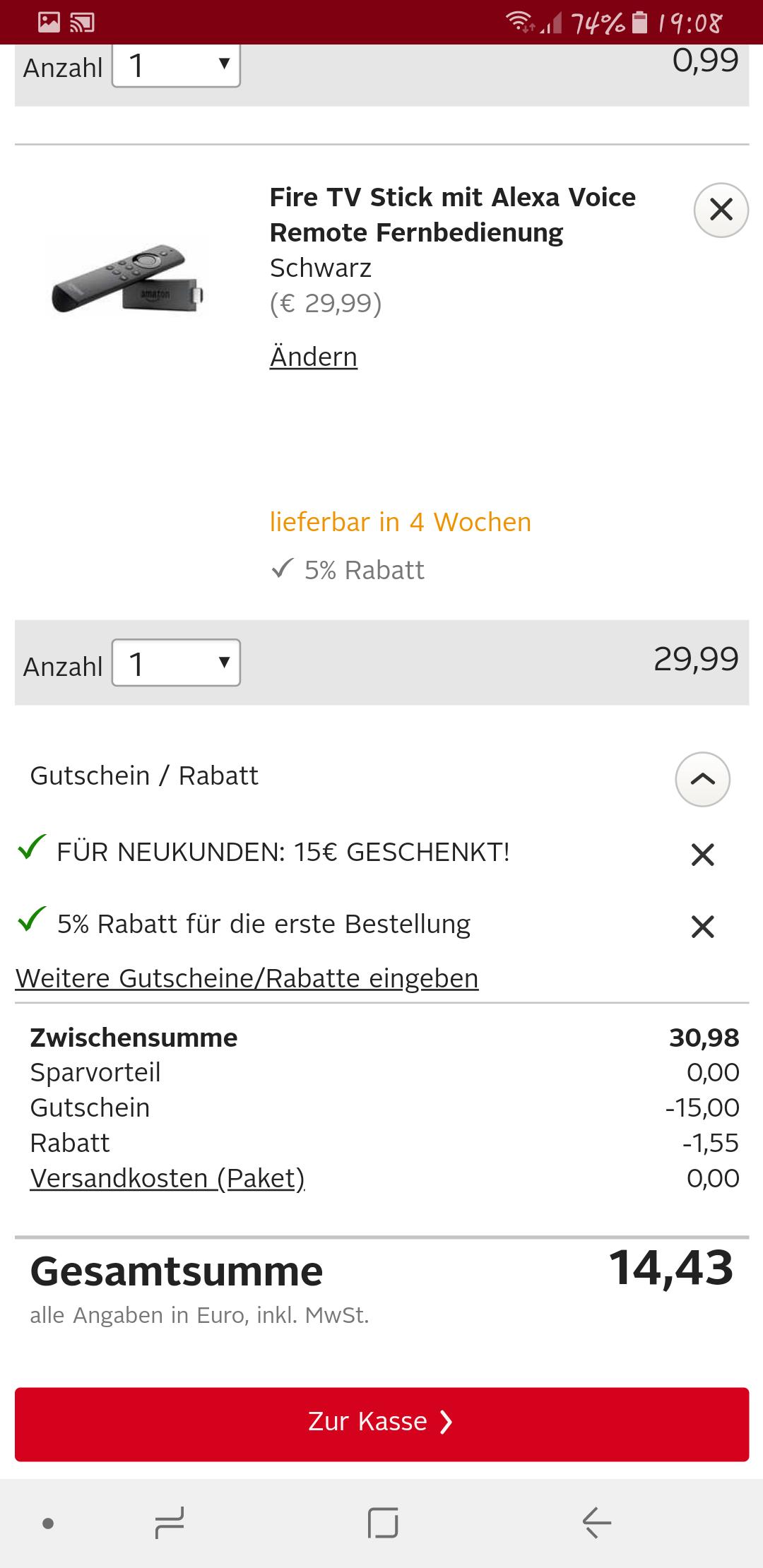 Amazon Fire TV Stick mit Alexa-Sprachfernbedienung für 14,43€ [OTTO Neukunde]