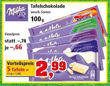 (offline) Thomas Philipps - Milka Schokolade - 5x100g (0,59€/Tafel)