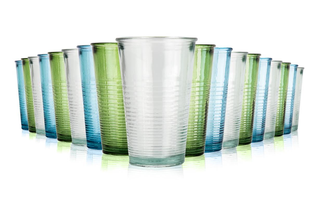 Jamie Oliver 18 teiliges Gläser-Set aus recyceltem Glas, bunt oder weiß (1,23 € pro Glas)