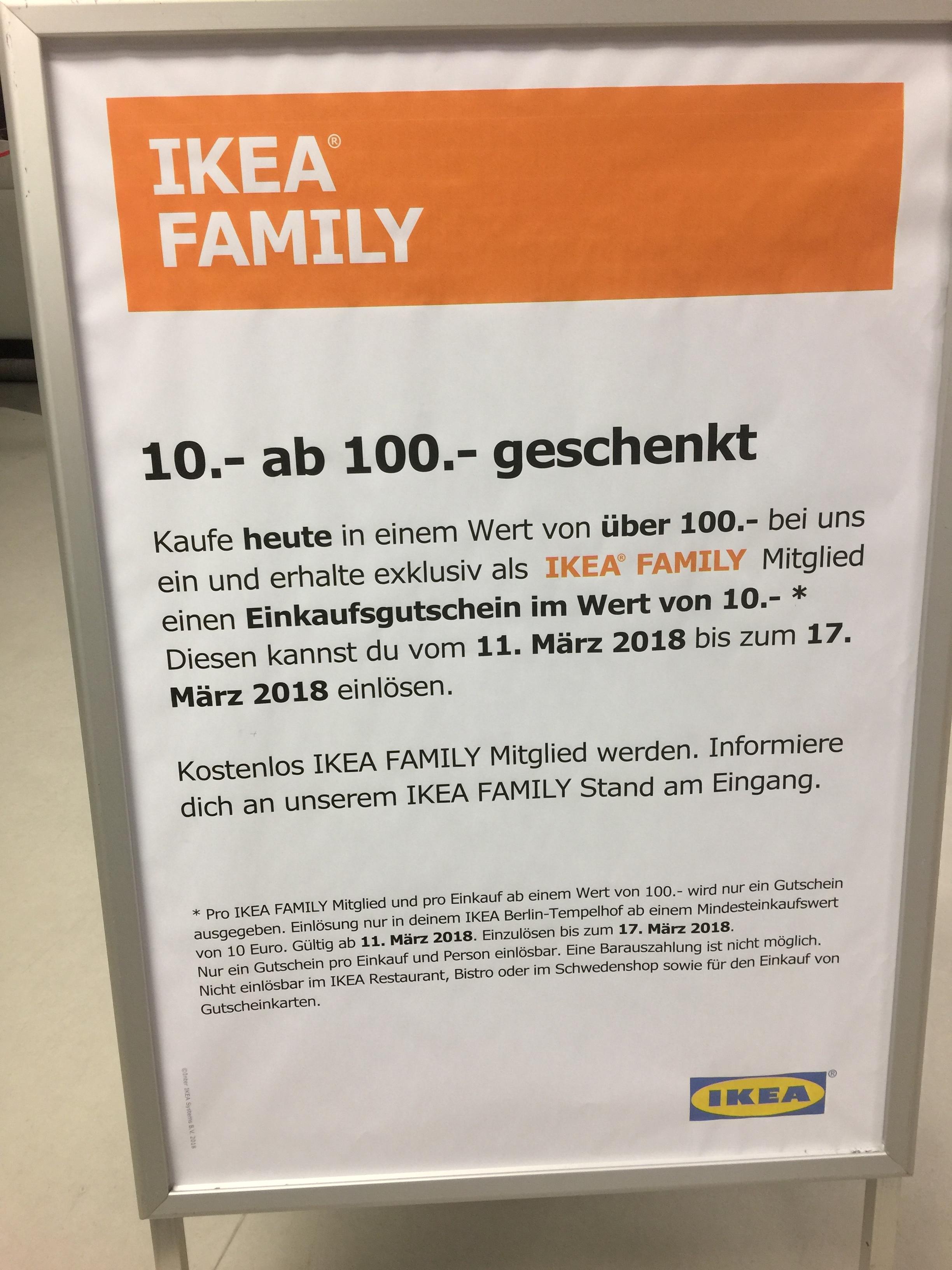 [LOKAL?]  IKEA Berlin Tempelhof Family einmalig 10 Euro Gutschein für 100 €  einkaufswert