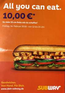 [Subway] All you can eat am Freitag 16.02.2018 12-21 Uhr Region Hannover