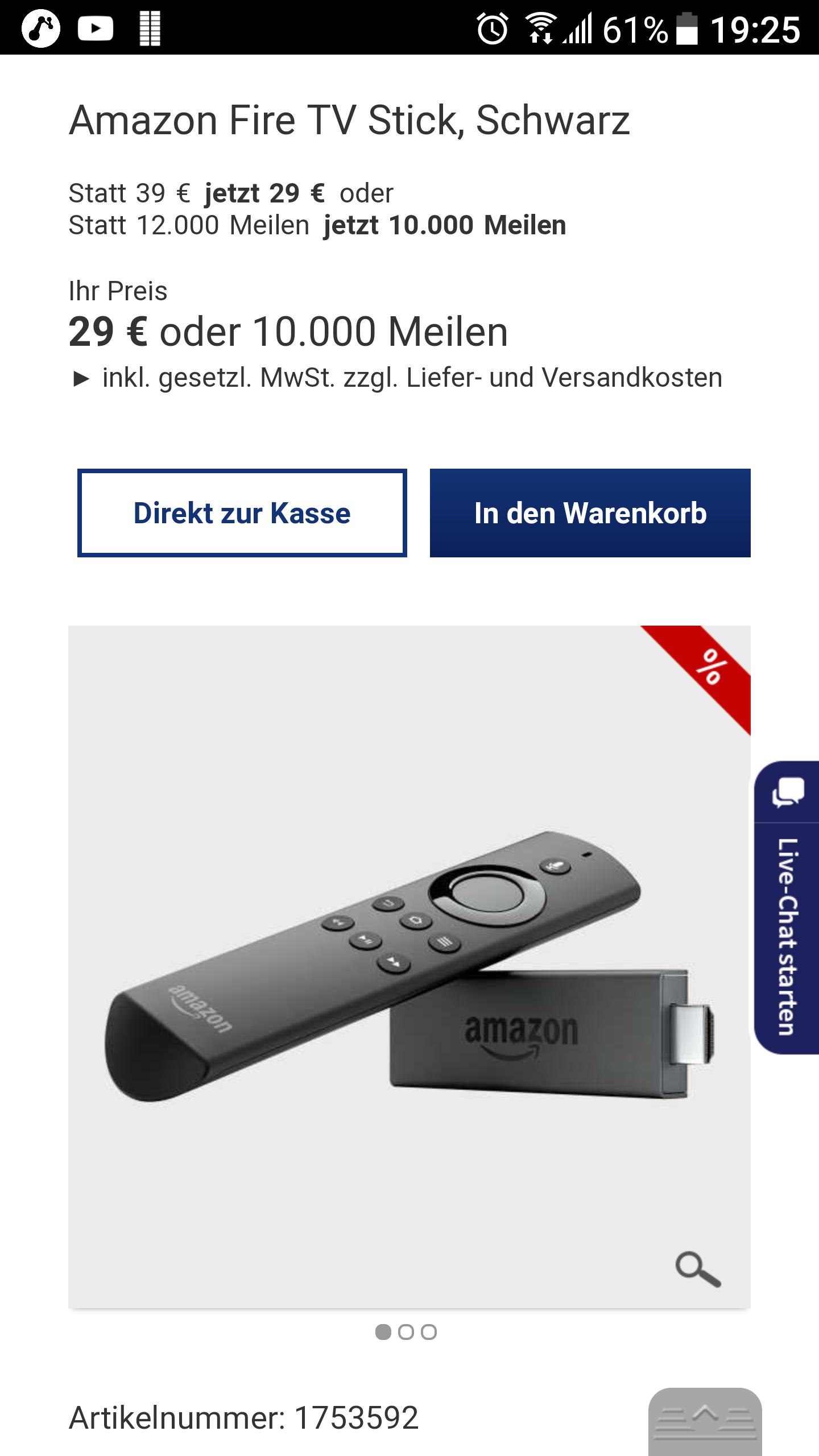 [Lufthansa Worldshop] amazon Fire TV Stick mit Alexa für 29.95 € + 5.95 € Versand (10 € Gutschein für Newsletter Anmeldung)