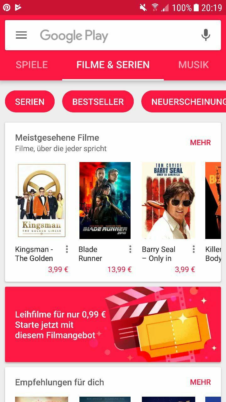 Leihfilm für 0,99 € in der Google Play App